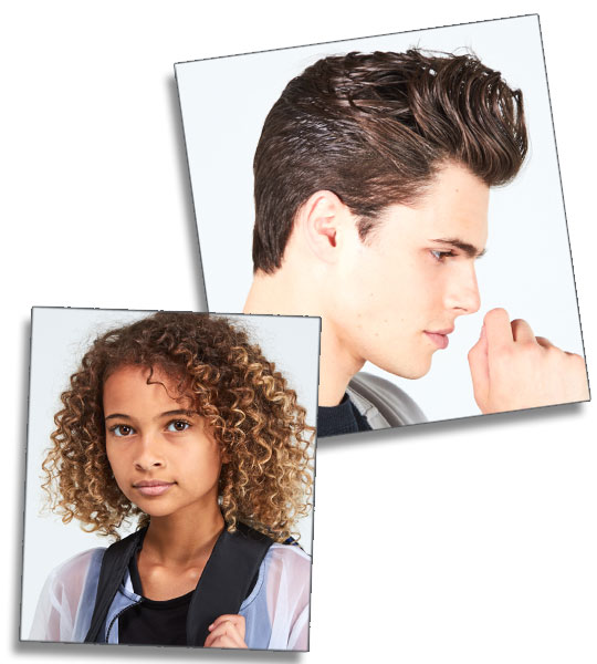 model images - young girl with curly hair & teenage boy with pompadour