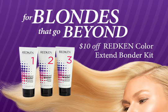 for BLONDES that go BEYOND $10 off  REDKEN Color Extend Bonder Kit