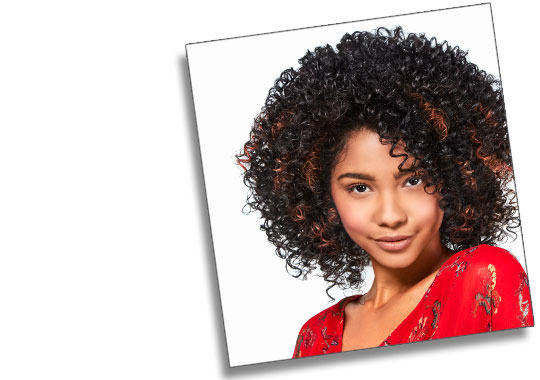 curly-haired girl with arched eyebrows