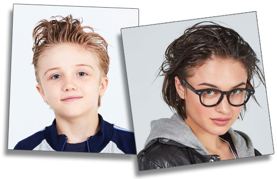 models - young boy with spiky hair & teenage girl with highlights